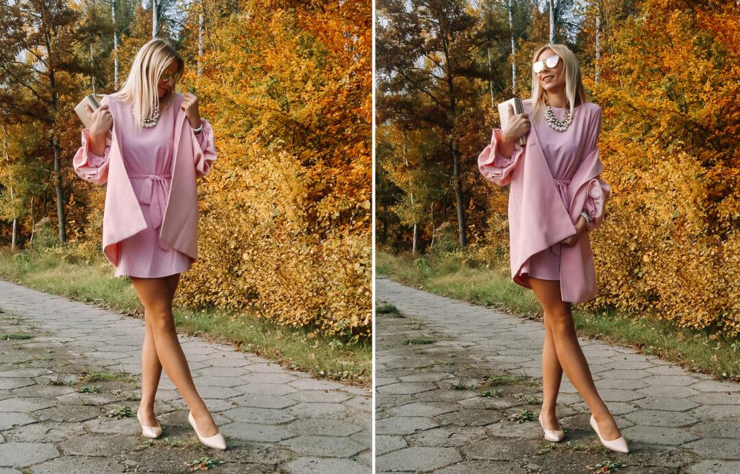 różowy total look
