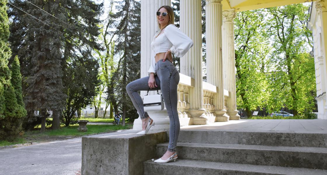 wysoki stan jeansy noszenie