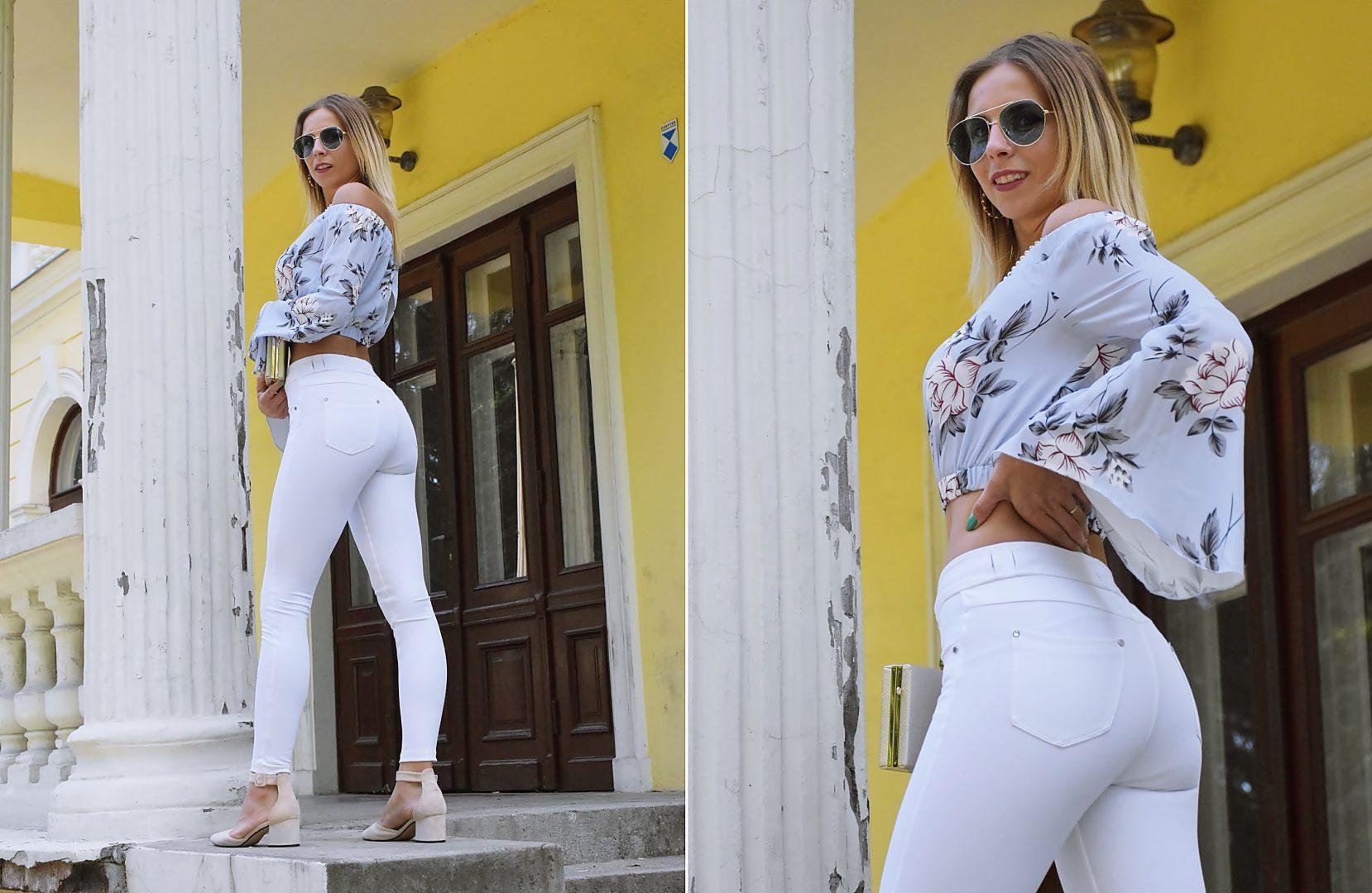 stylizacja białe spodnie